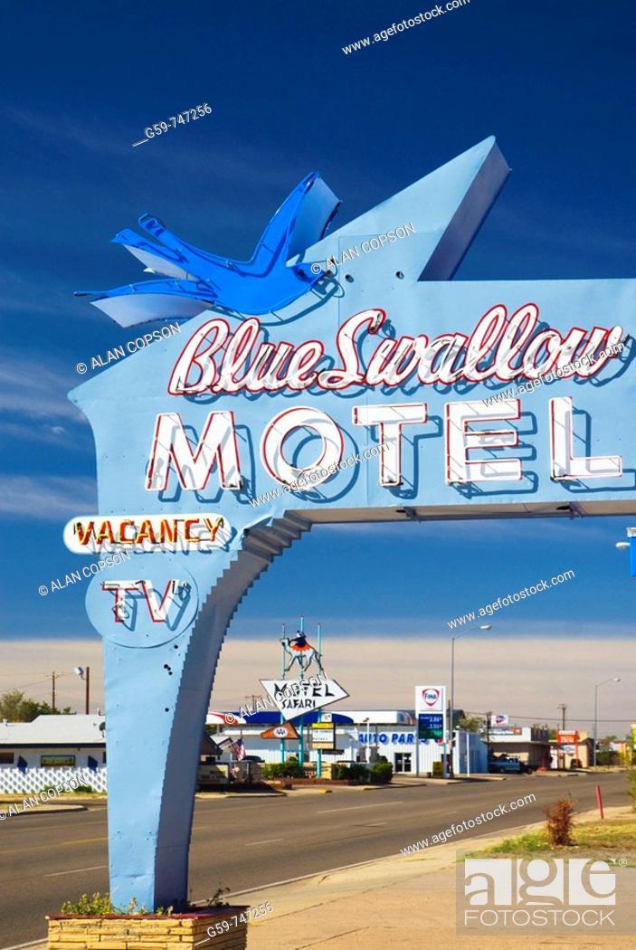 Stock Photo: USA  New Mexico  Route 66  Tucumcari  Blue Swallow Motel Route 66 landmark.