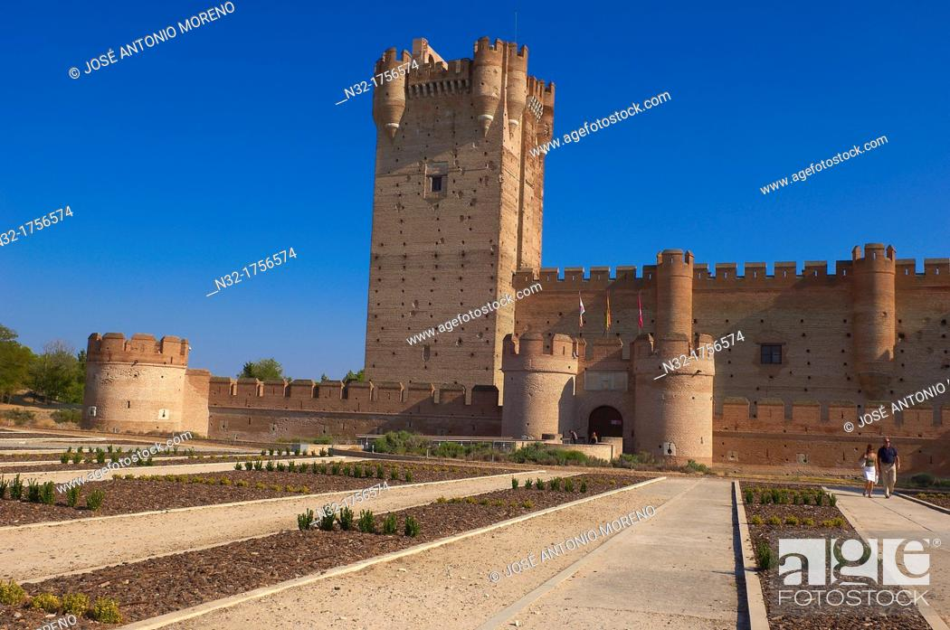 Stock Photo: La Mota Castle 15th century, Medina del Campo, Valladolid province, Castilla-León, Spain.