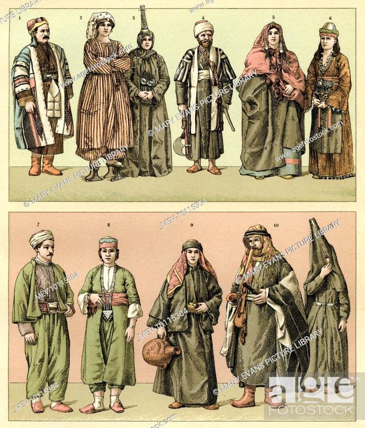 Stock Photo: Various people from Asiatic Turkey in traditional dress.