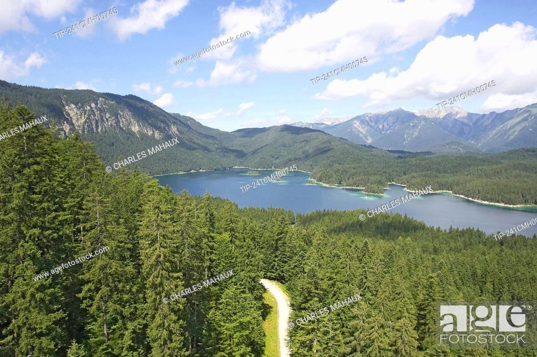 Stock Photo: Europe, Germany, Bavaria,' Deutsche Alpenstrasse ' Garmisch Partenkirchen area Eibsse lake.