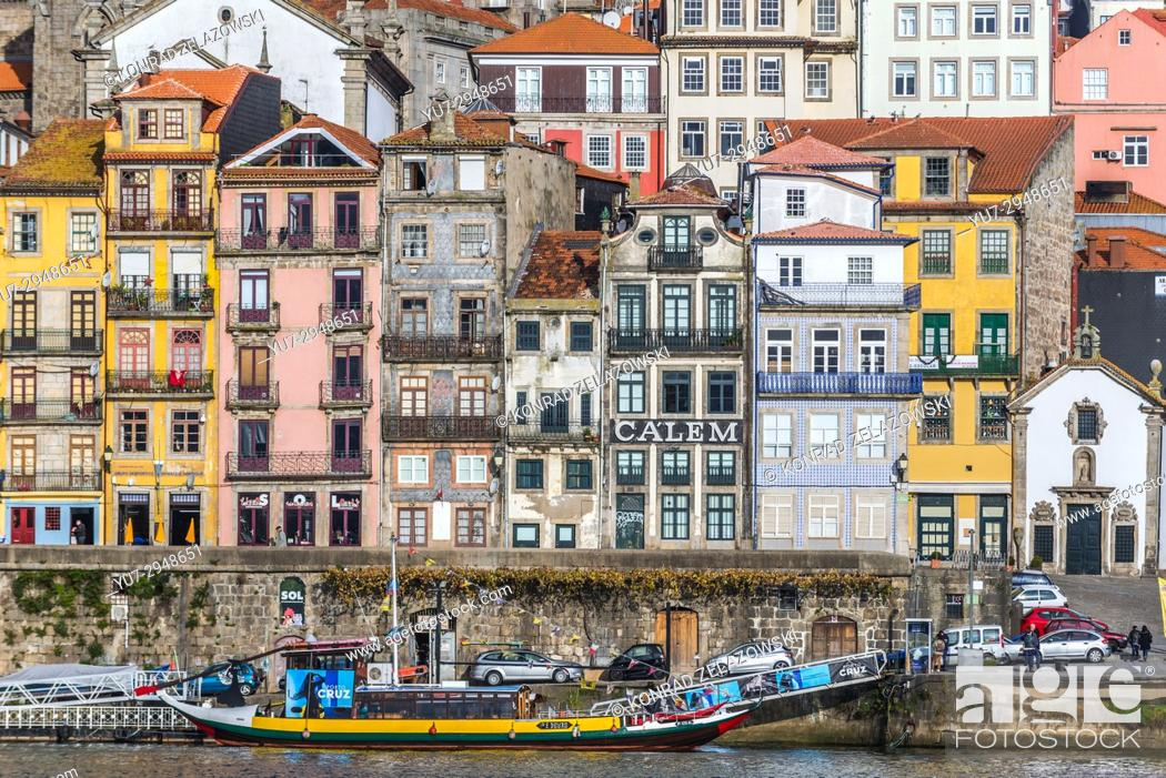 Stock Photo: Row of buildings on the Douro riverfront in Porto city, Portugal.