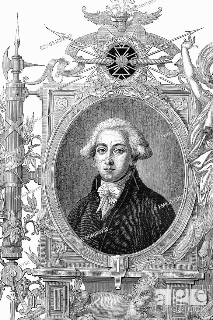 Stock Photo: François Antoine de Boissy d'Anglas, count of the Empire. Born 1756, died 1826. Antique illustration. 1890.