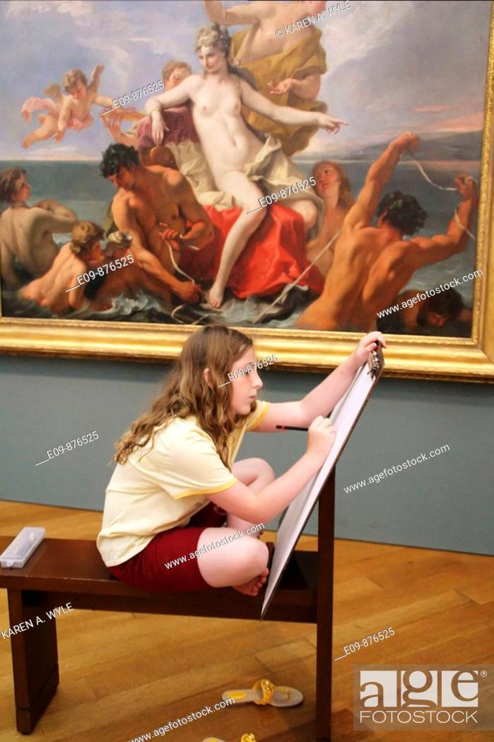 Stock Photo: girl sketching in room for that purpose at Getty Center, Los Angeles, CA.