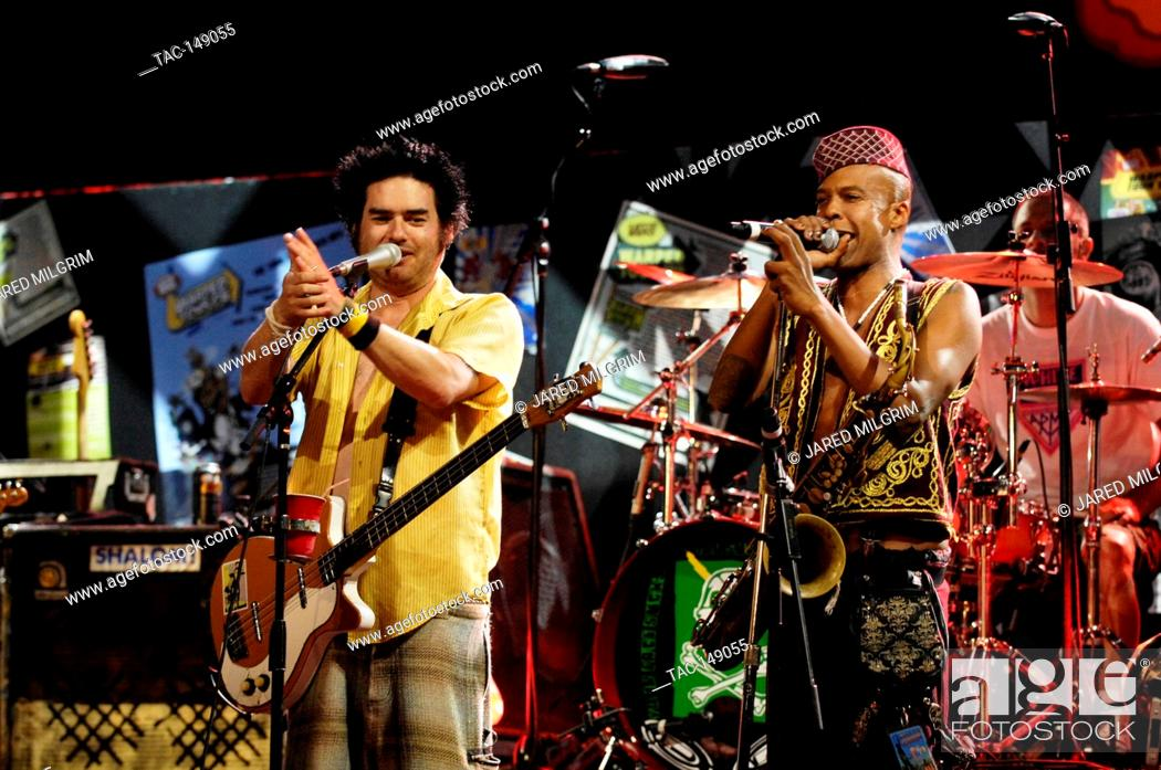 Stock Photo: Angelo Moore of Fishbone (r) and Fat Mike of NOFX perform at the Vans Warped Tour 15th Anniversary Celebration at Club Nokia on September 6, 2009 in Los Angeles.