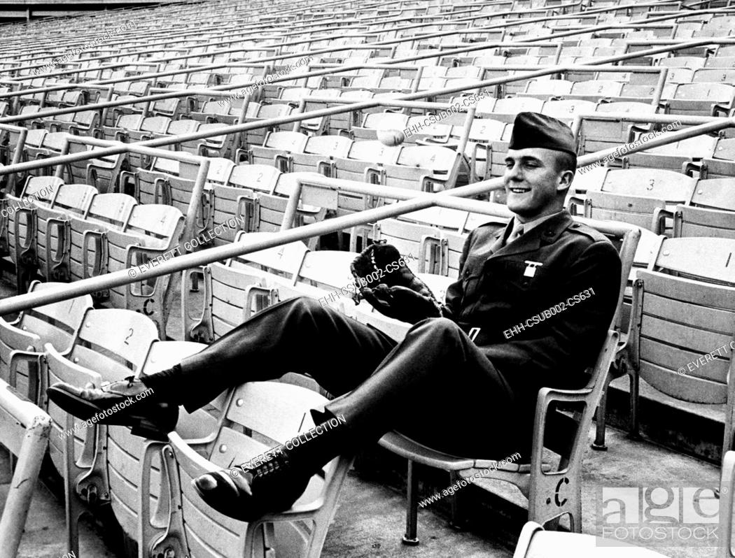 Stock Photo: Frank 'Tug' McGraw at Shea Stadium after signing his 1966 contract on Jan. 18, 1966. He was still in the U.S. Marines until March 23.