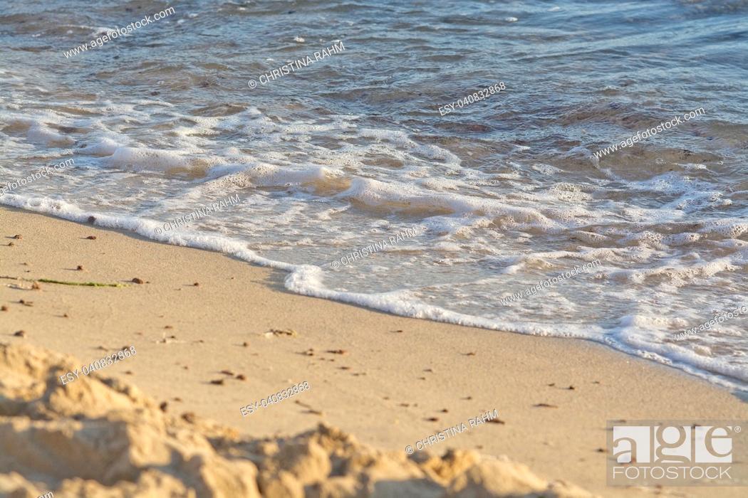 Stock Photo: Foamy wave with bubbles hits sandy beach grains macro closeup background texture.