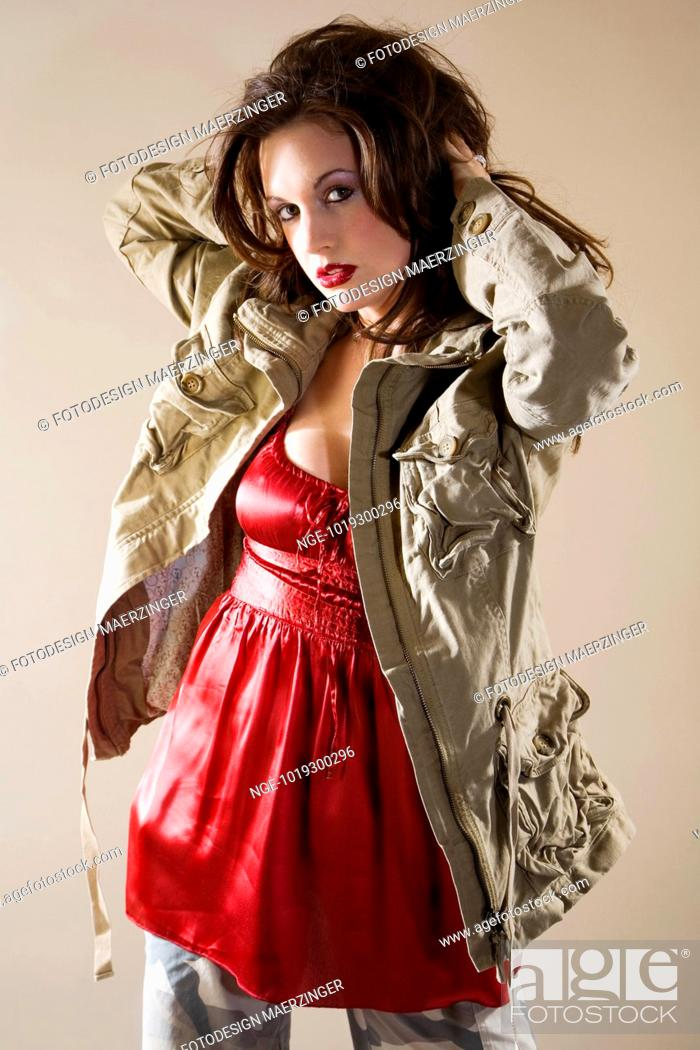 42971cd36edf9e Portrait young Woman wearing red Top, Stock Photo, Picture And ...