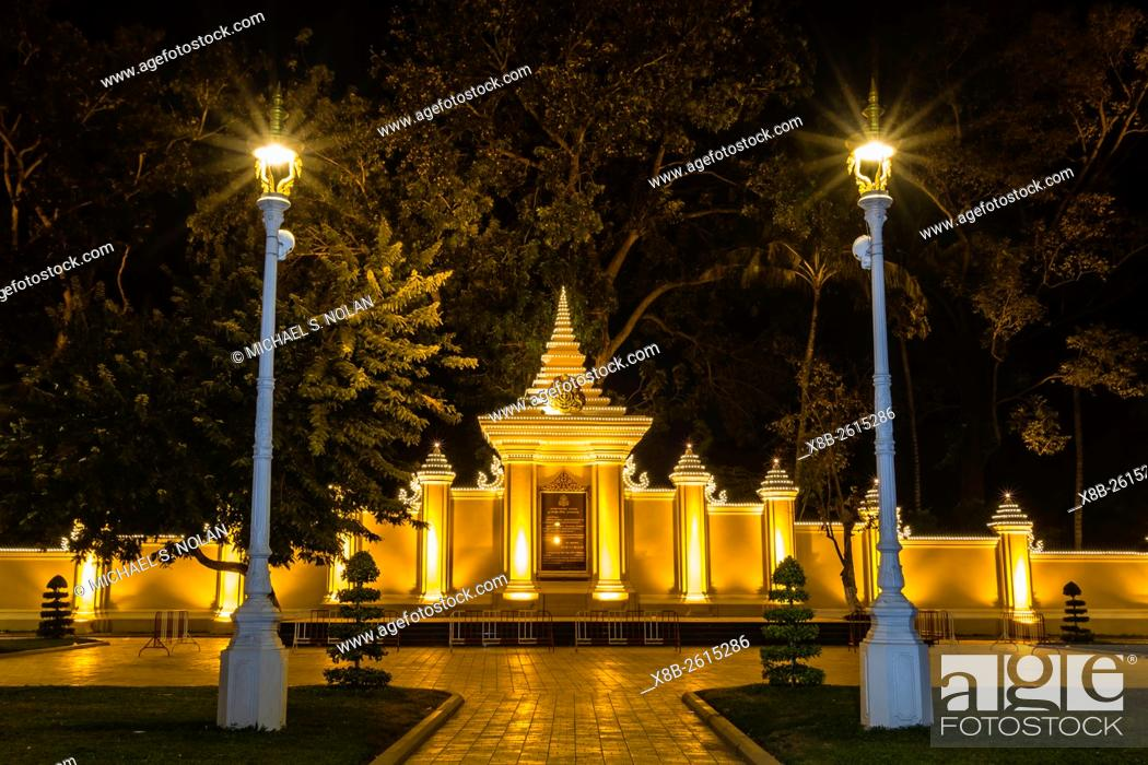 Stock Photo: Night photograph of side gate of the Royal Palace in the capital city of Phnom Penh, Cambodia.