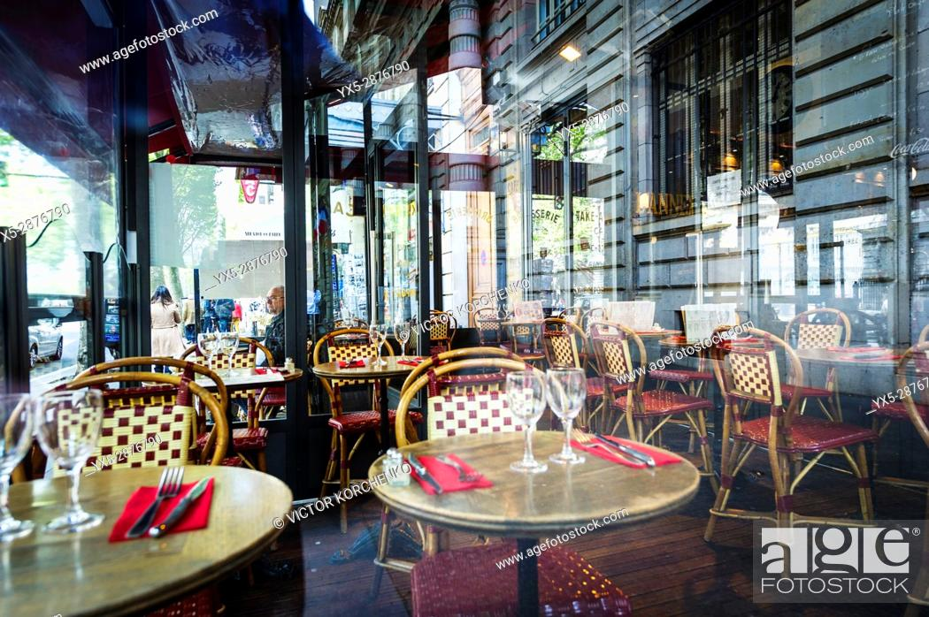 Empty Tables At A Parisian Cafe Stock Photo Picture And Rights Managed Image Pic Yx5 2876790 Agefotostock