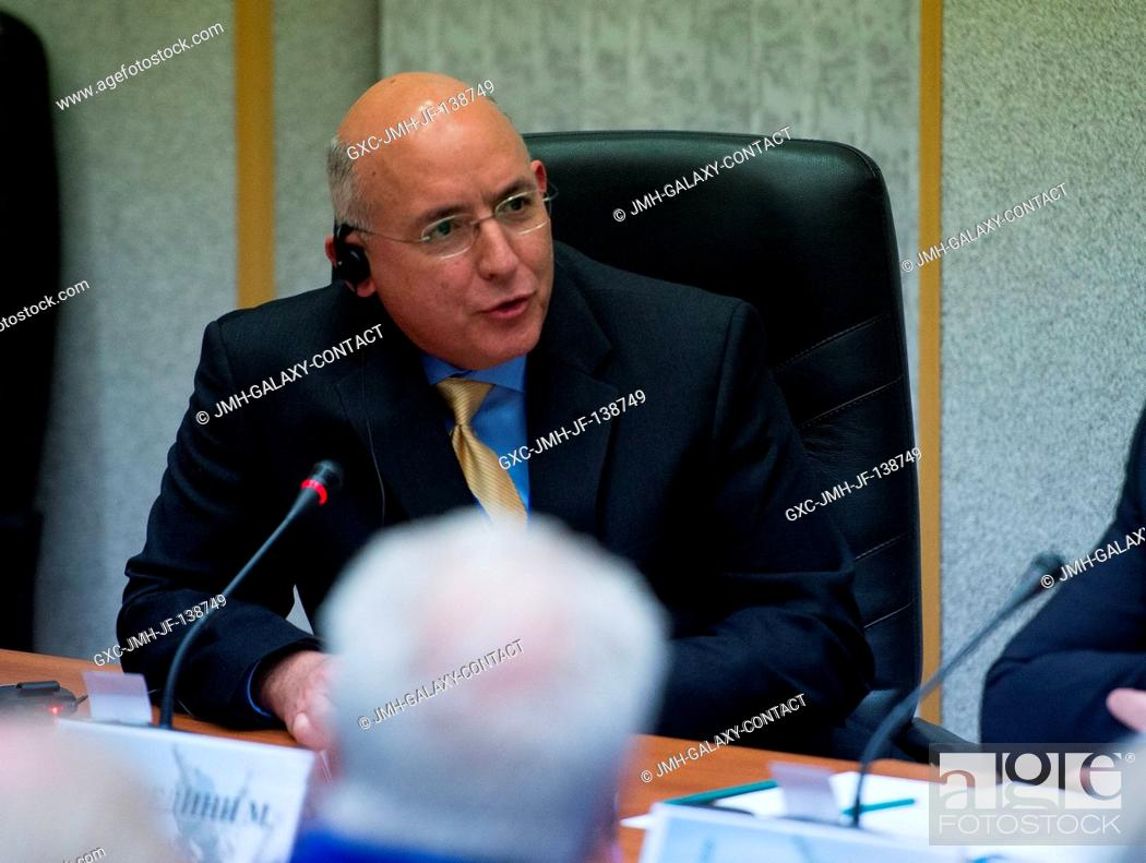 Stock Photo: NASA Space Station Program Office Manager Michael T. Suffredini, talks during the State Commission meeting to approve the Soyuz rocket launch of Expedition 39.
