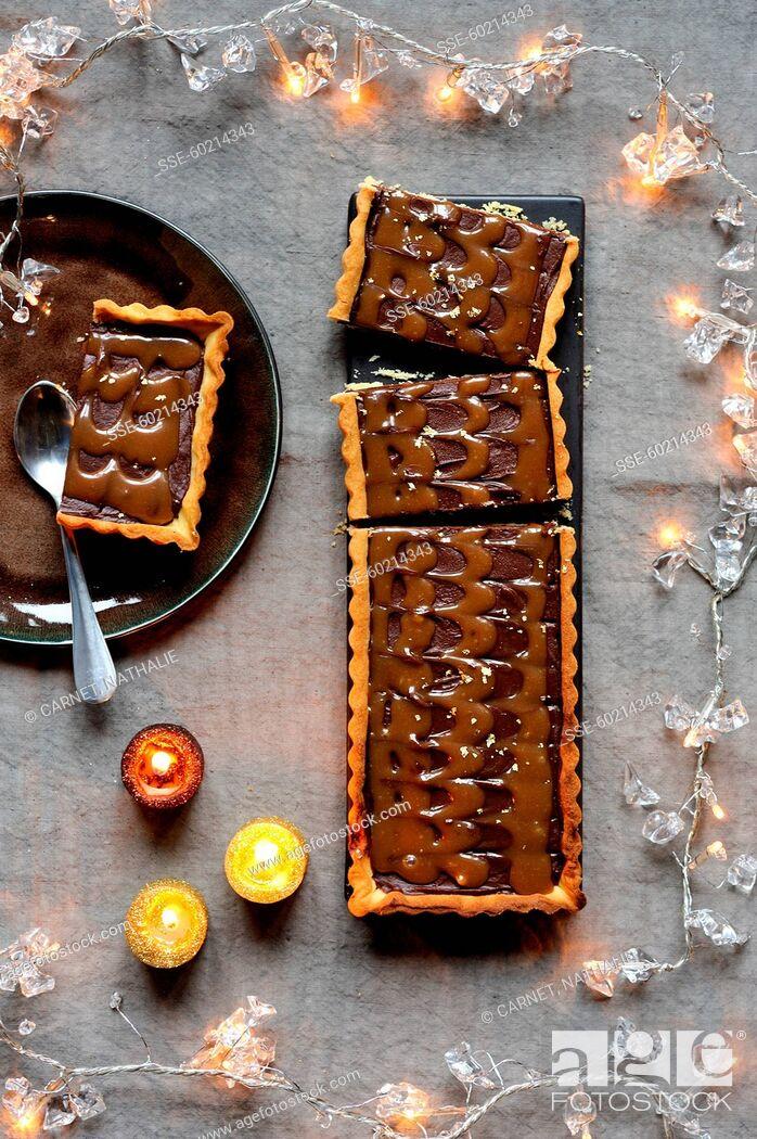 Stock Photo: Chocolate-toffee tart.