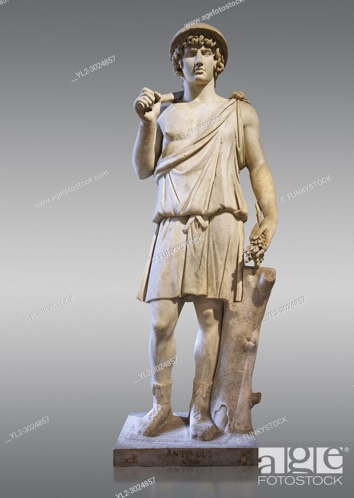 Stock Photo: Statue known as Antonius as Aristaeus. Antinous was the young Bithynian favoured by the emperor Hadrian who was deified after drowning under mysterious.