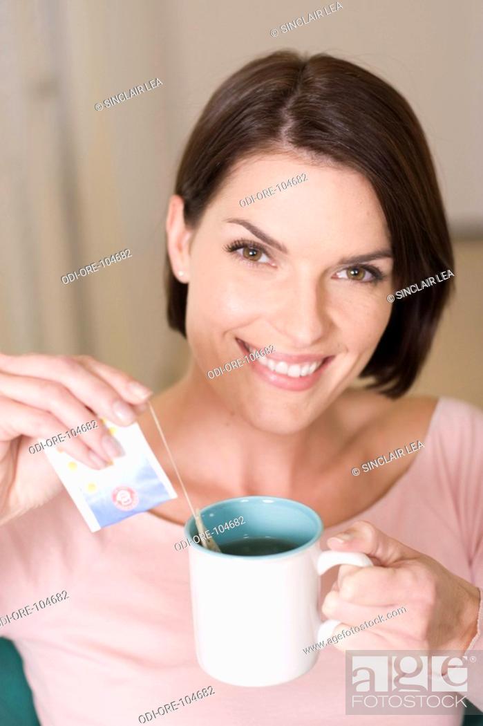 Stock Photo: Woman tea.
