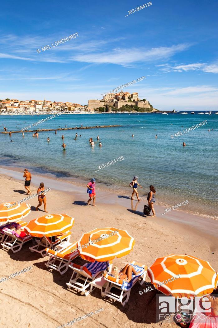 Stock Photo: View of the Citadel from the beach, Calvi, Haute-Corse, Corsica, France.