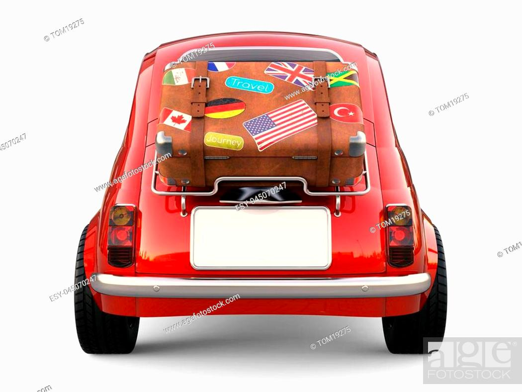 Stock Photo: Little red car with suitcase on luggage rack, vacation trip isolated on white background 3D rendering.