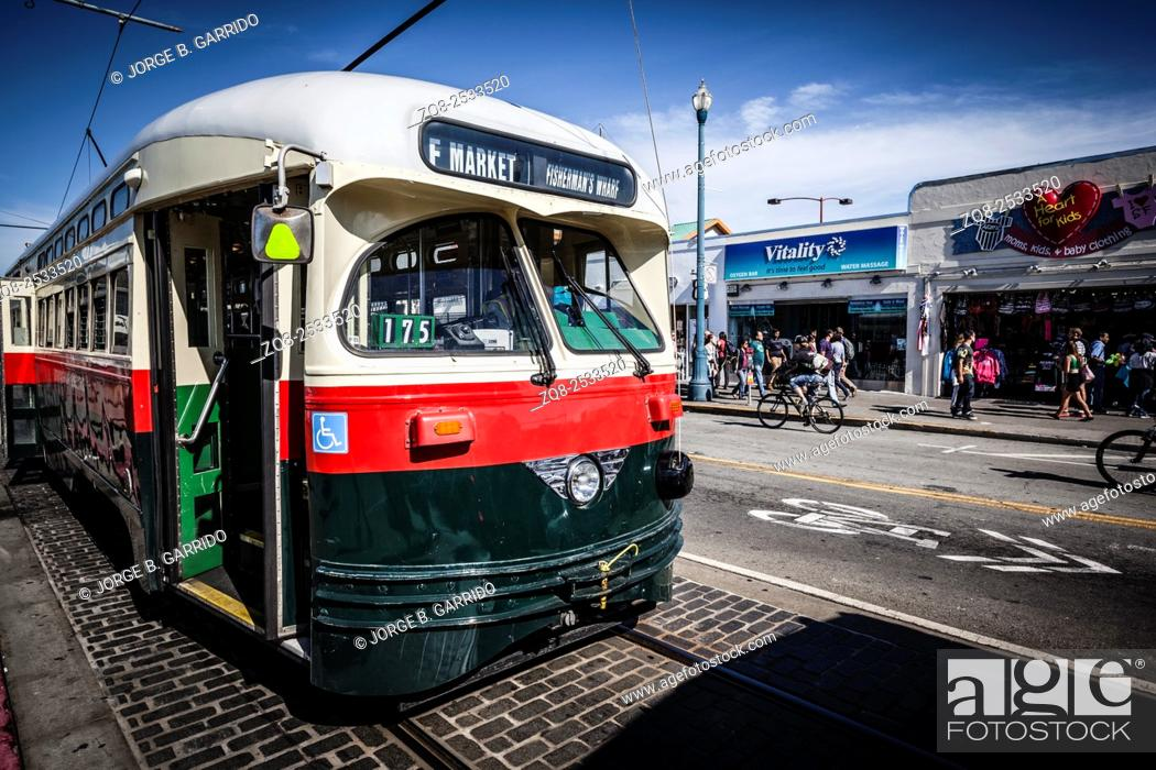 Stock Photo: Tram in the streets of San Francisco California.