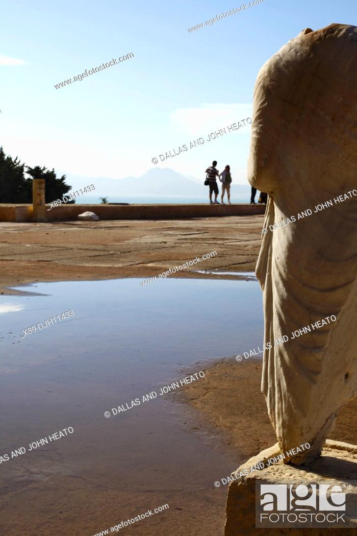 Stock Photo: Africa, Tunisia, Tunis, Carthage, Byrsa Hill, Carthage Museum Courtyard, Ruins of Sculpture in the Punic Quarter.