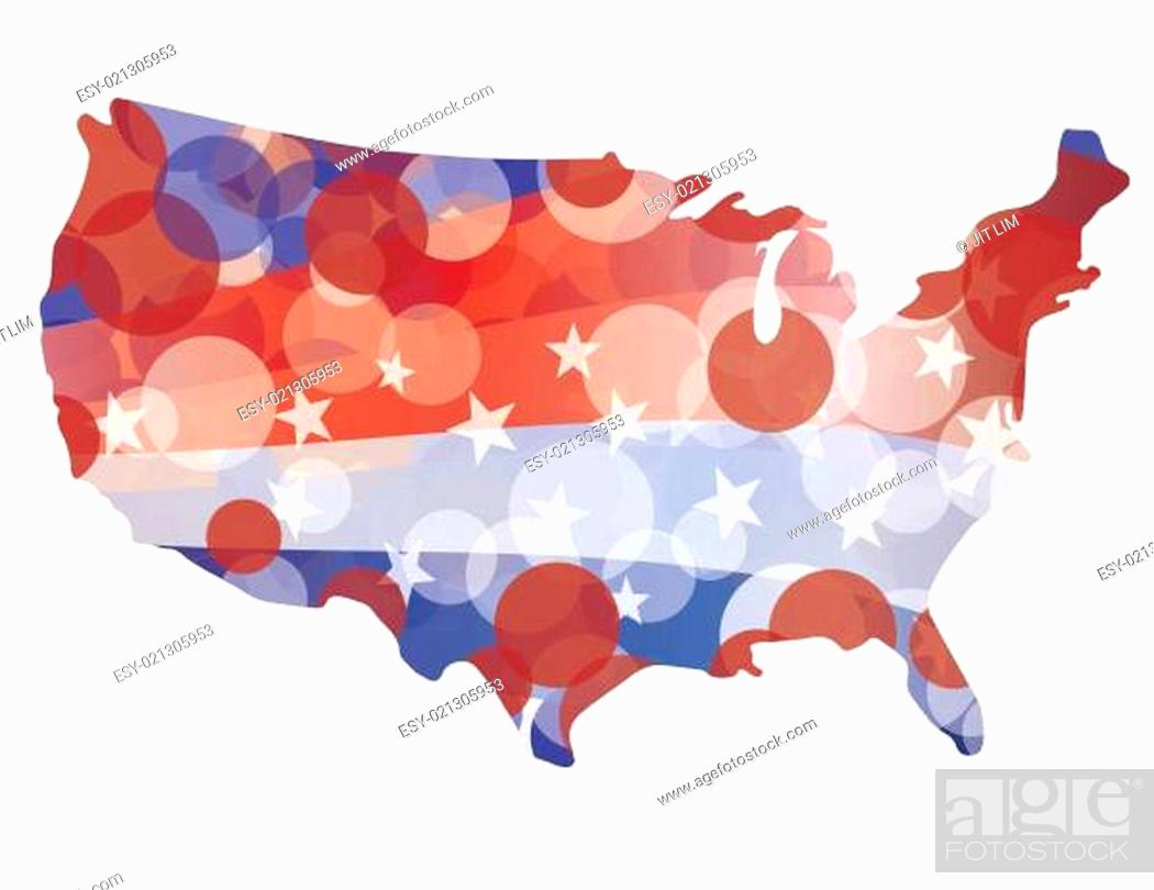 Imagen: USA Map with Red White Blue Circle Pattern.