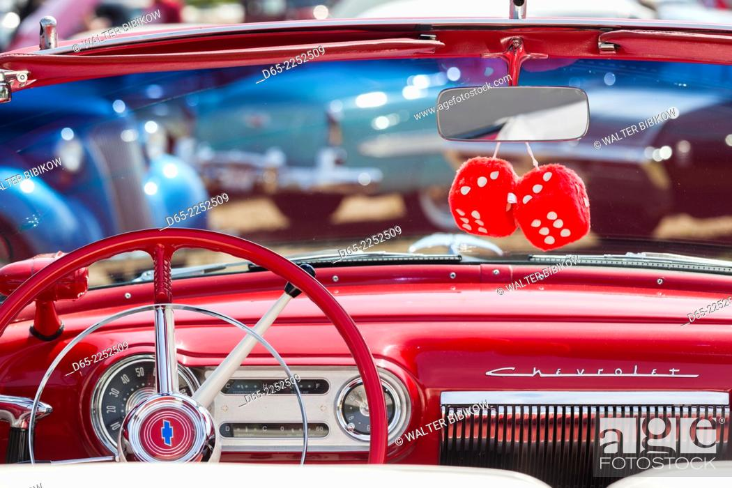 USA, Massachusetts, Gloucester, Antique Car Show, fuzzy dice, Stock ...