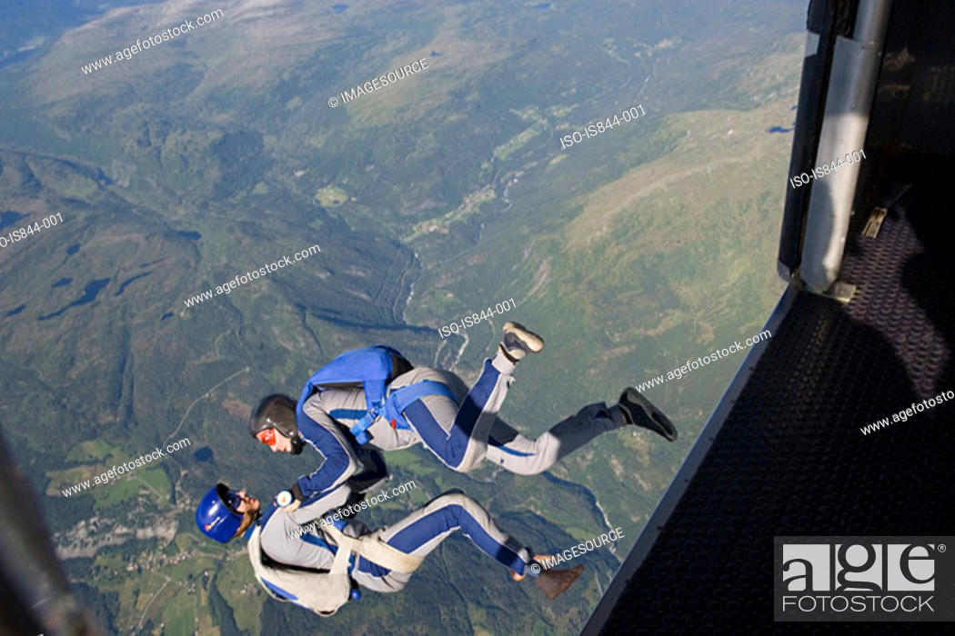 Stock Photo: Two men skydiving.