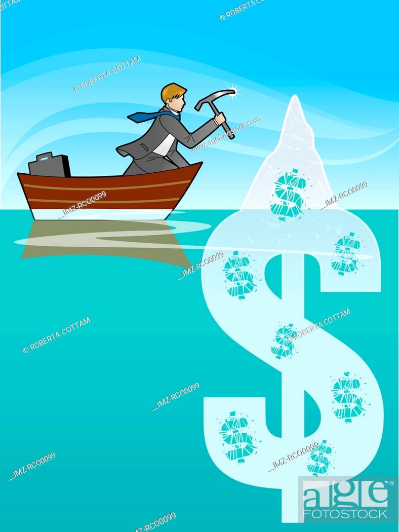 Stock Photo: A man chipping away at a dollar sign in the water.