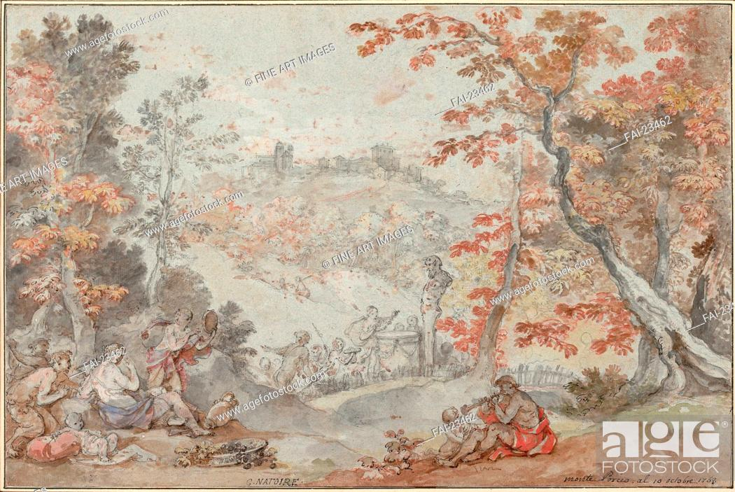 Stock Photo: Italian Fall Landscape with Monte Porzio and an Offering to Pan. Natoire, Charles Joseph (1700-1777). Pen, brush, red and black chalk on paper. Rococo.