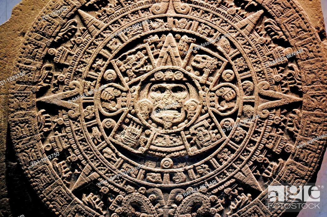 Stock Photo: Mexica sun stone or Stone of the Sun Spanish: Piedra del Sol, is a large monolithic sculpture that was excavated in the Zócalo.