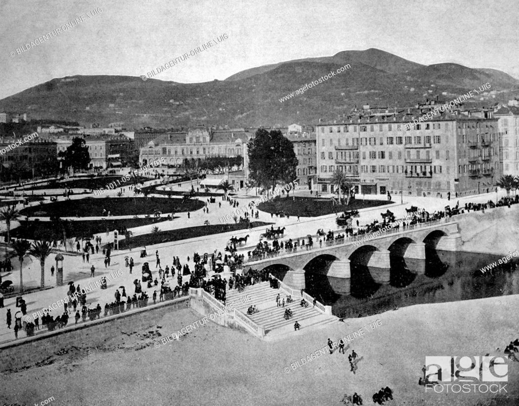 Stock Photo: Early autotype of the le jardin public park, nice, france, historical photo, 1884.