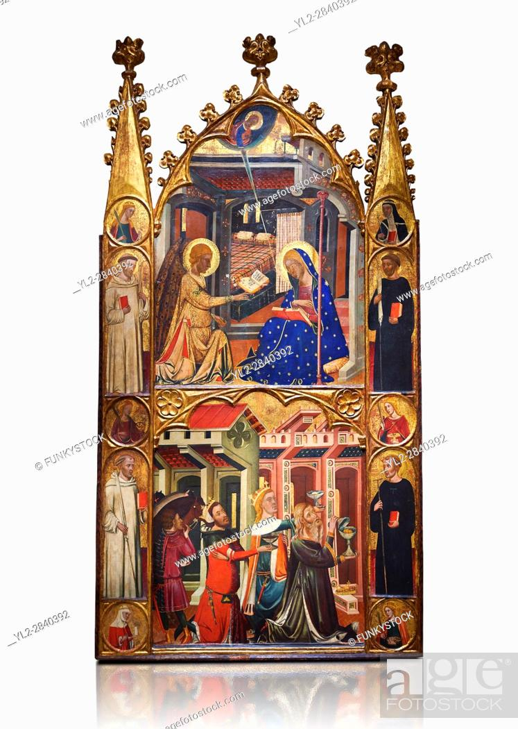 Stock Photo: Gothic painted Panel Altarpiece of the Annunciation and Three Kings of the Epiphany by the Circle of Ferrer and Arnau Bassa.