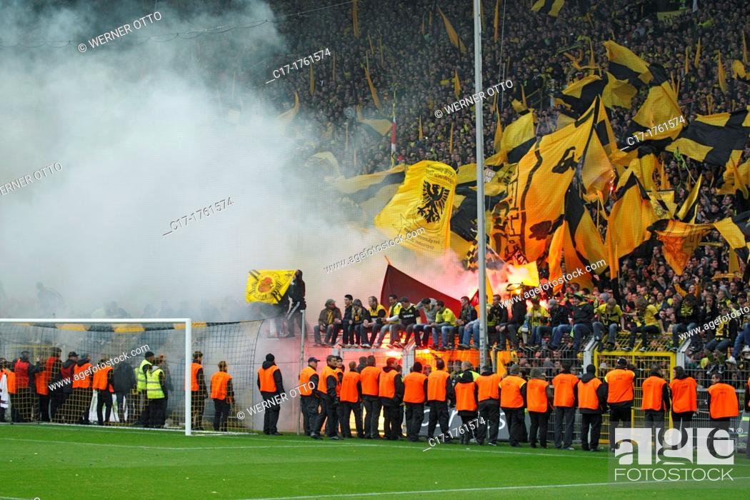 Stock Photo: sports, football, Bundesliga, 2011/2012, Borussia Dortmund versus SC Freiburg 4:0, Stadium Signal Iduna Park in Dortmund, football fans, rampage, riots.