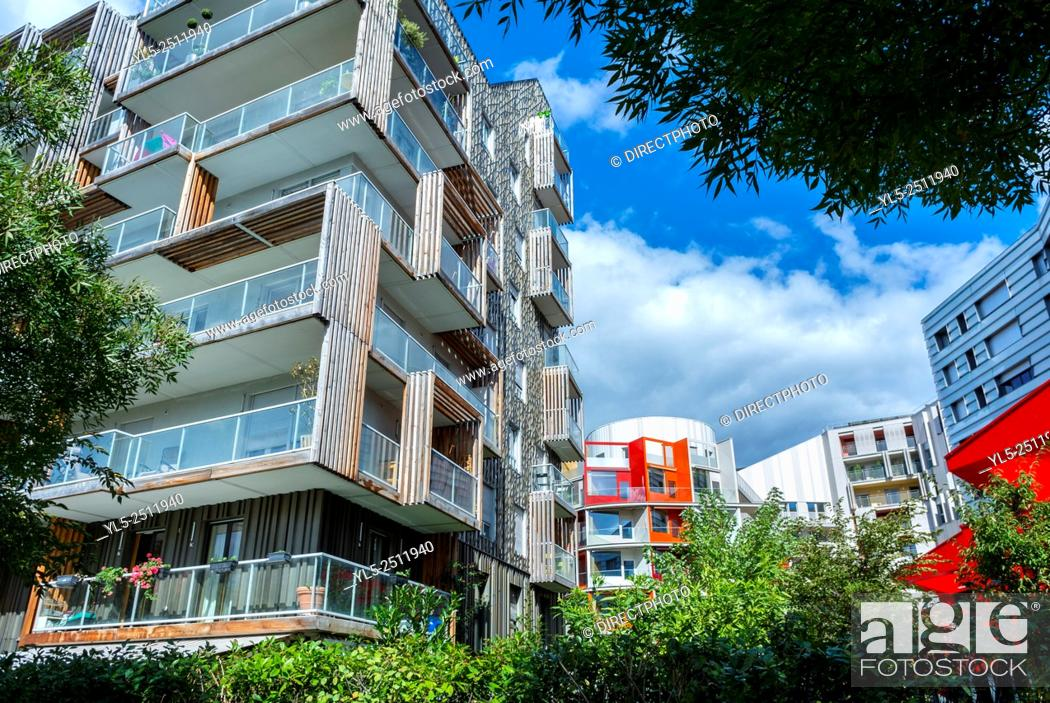 Stock Photo: Paris, France, New Modern Architecture Project, Garden Martin Luther King, Neighborhood, Eco-Quartier Clichy-Batignolles,.