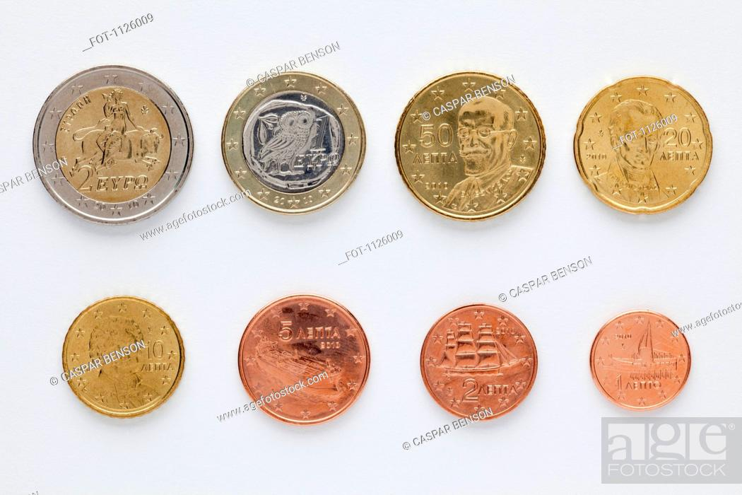 Stock Photo: Greek euro coins arranged in numerical order, rear view.