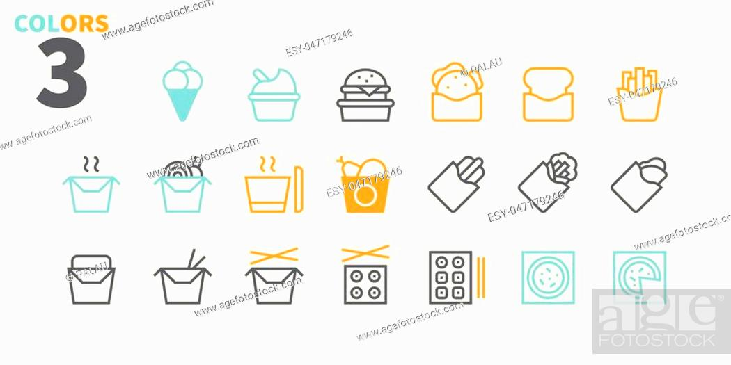 Stock Vector: Take Out UI Pixel Perfect Well-crafted Vector Thin Line Icons 48x48 Ready for 24x24 Grid for Web Graphics and Apps with Editable Stroke.