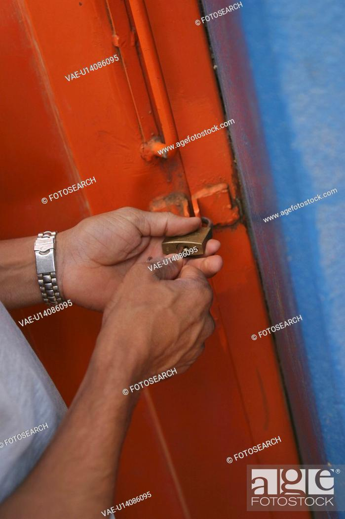 Stock Photo: one person, locking, human hands.