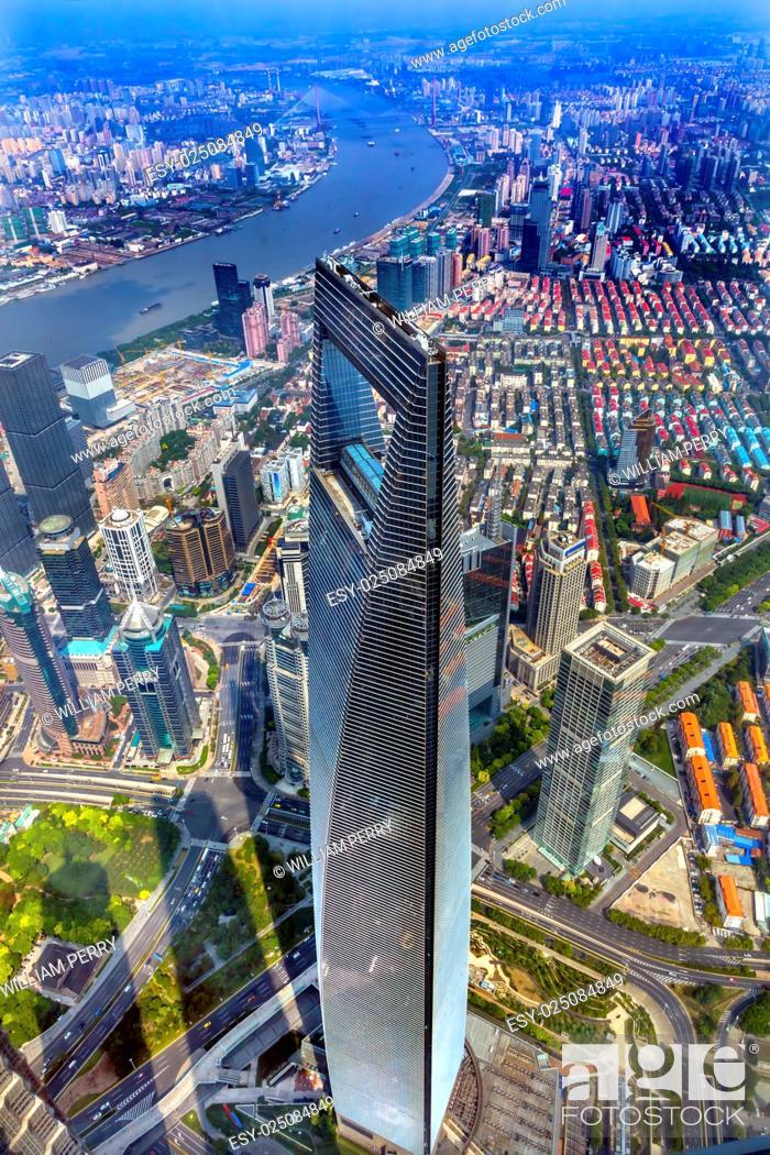 Stock Photo: Looking Down on Black Shanghai World Financial Center Skyscraper Huangpu River Cityscape Liujiashui Financial District Shanghai China.