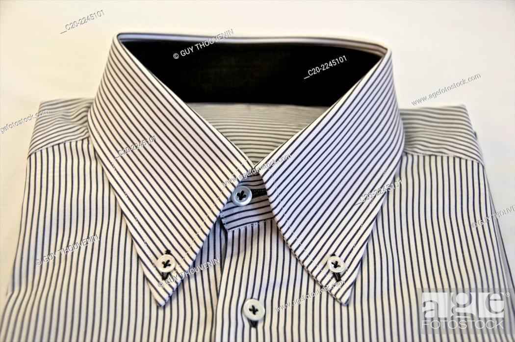 Stock Photo: Striped blue and white hand made shirt, italian fashion, Venice , Italy.
