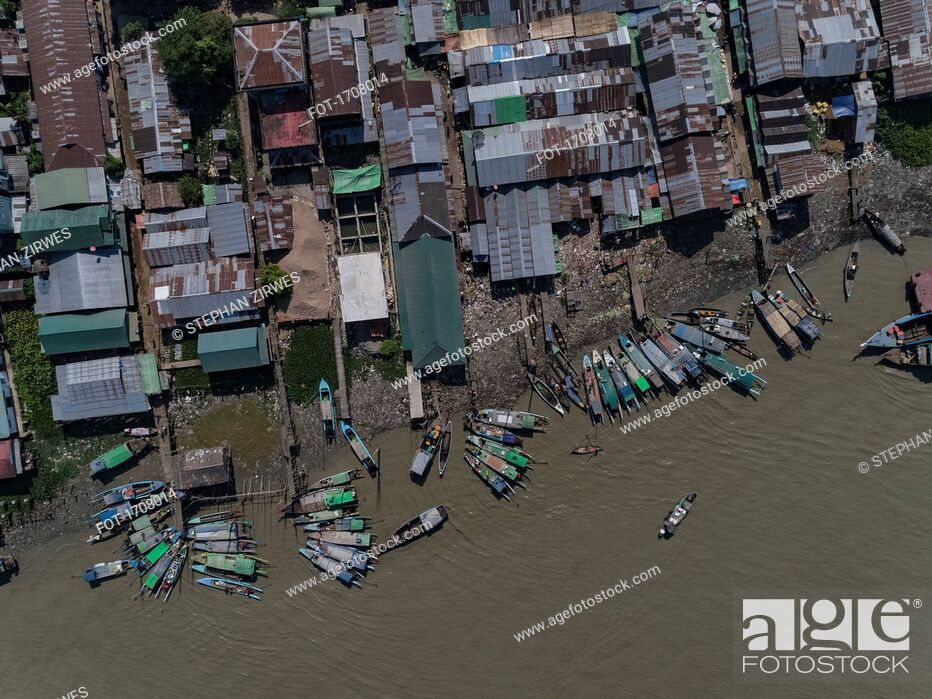 Stock Photo: Aerial view of boats moored by harbor, Bogale, Myanmar.