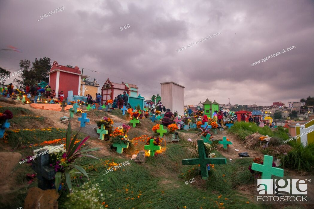 Stock Photo: Guatemala, Chichicastenango, Day of the Dead celebrations in the cemetery.