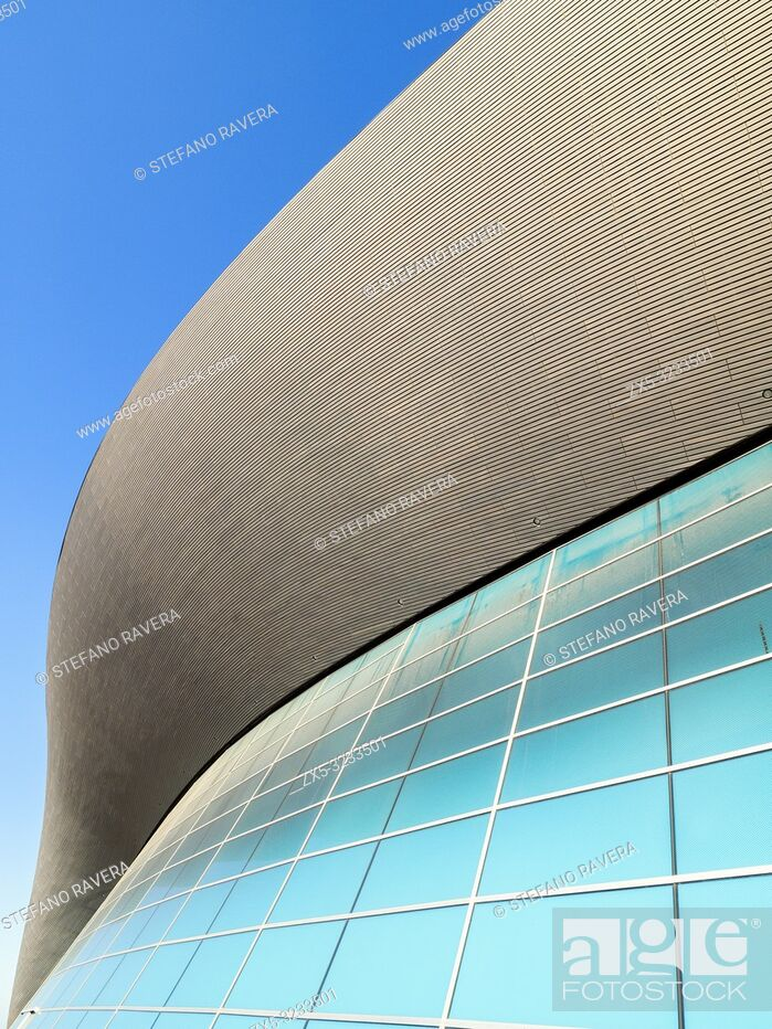 Stock Photo: London Aquatics Centre at the Queen Elizabeth Olympic Park in Stratford - East London, England.
