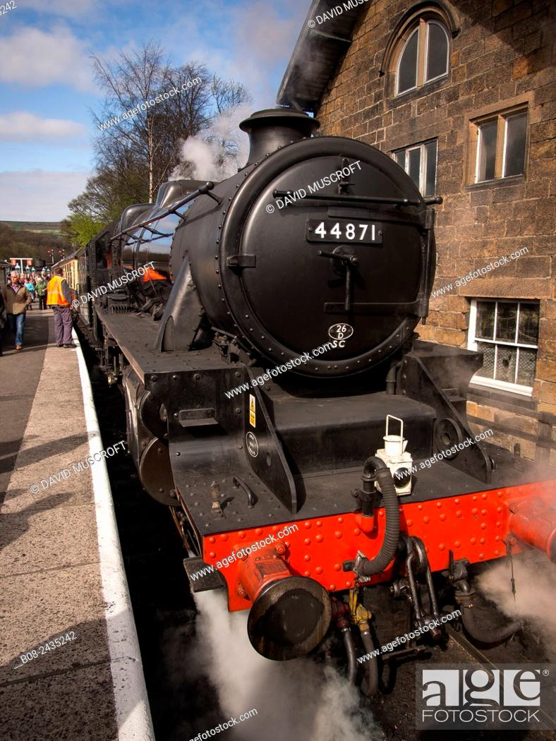 Stock Photo: vintage steam locomotive 44871 LMS at Grosmont station, on The North Yorkshire Moors Railway, Yorkshire, UK.
