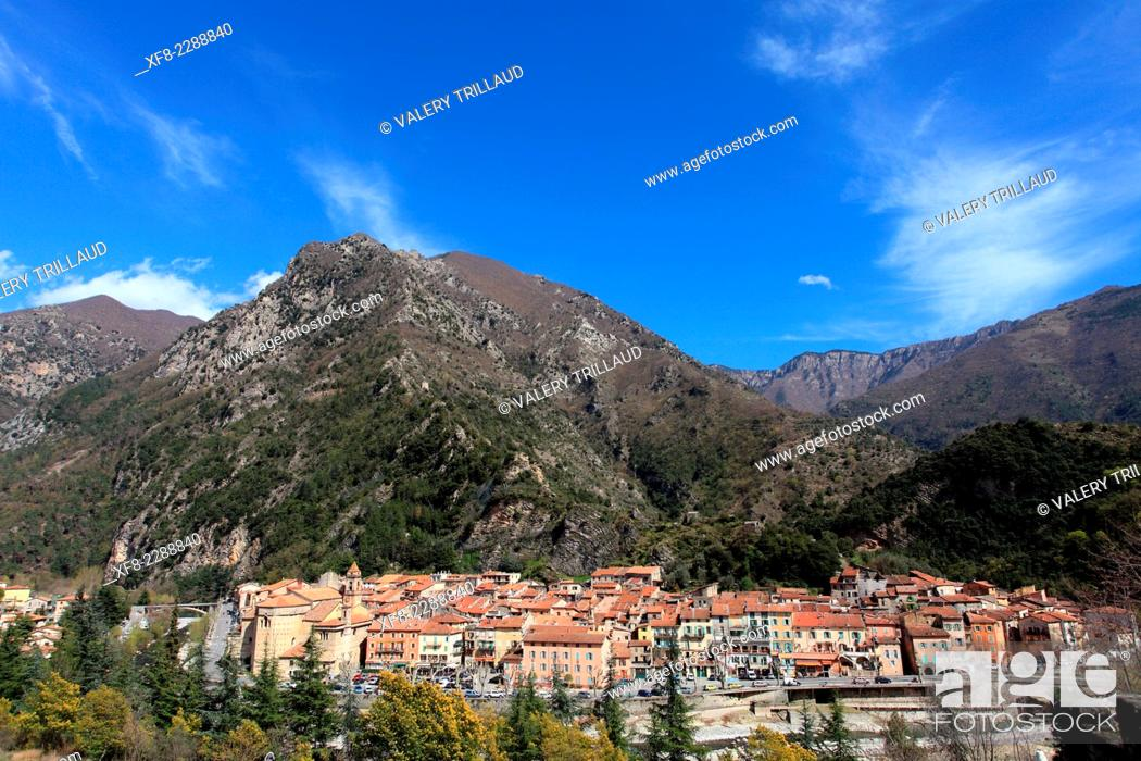 Stock Photo: The perched village of Breil sur Roya in the Roya Valley, Mercantour national park, Alpes-Maritimes, Provence-Alpes-Côte d'Azur, France.