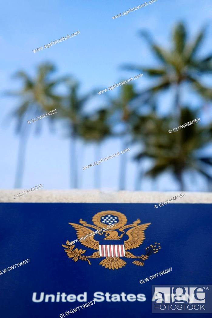 Stock Photo: Close-up of a memorial plaque, Pearl Harbor, Honolulu, Oahu, Hawaii Islands, USA.