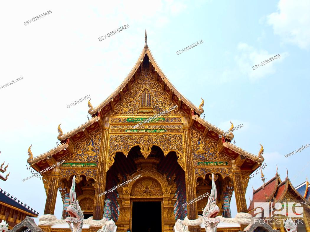 Stock Photo: A golden buddhist monastery in Wat Baan Den in Chiang Mai, Thailand built by Northern Thai architectural style.