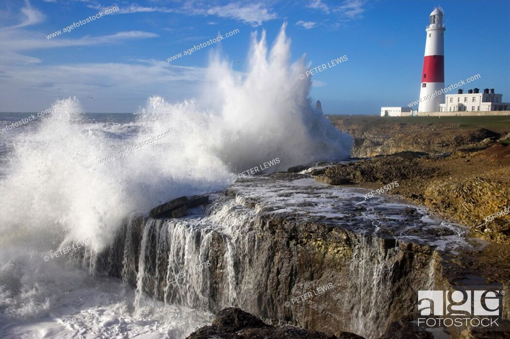 Stock Photo: Storm at Portland Bill Dorset.
