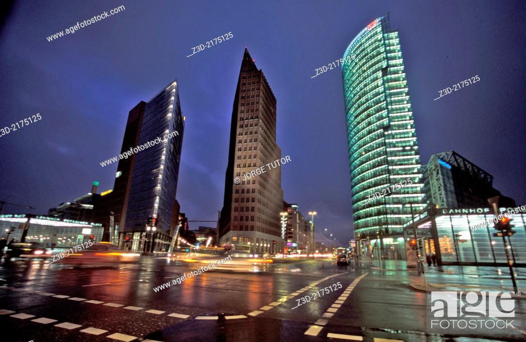 Stock Photo: Potsdamer Platz at night, Berlin, Germany.