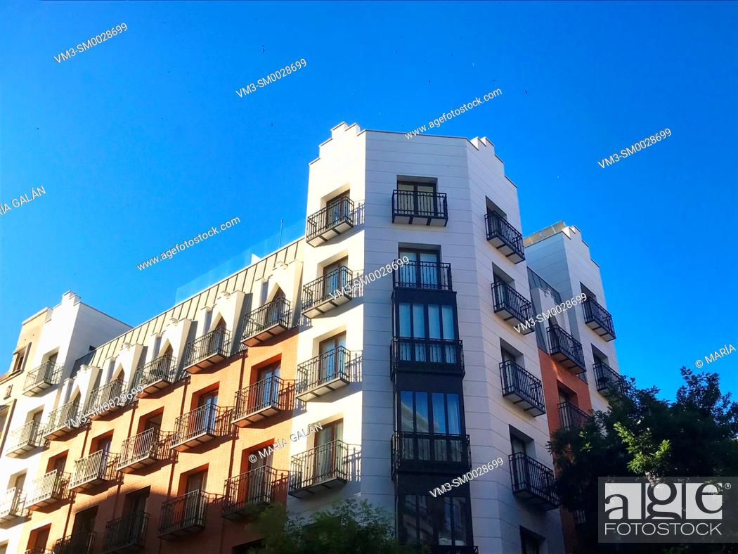 Stock Photo: Facade of house. Salamanca district, Madrid, Spain.