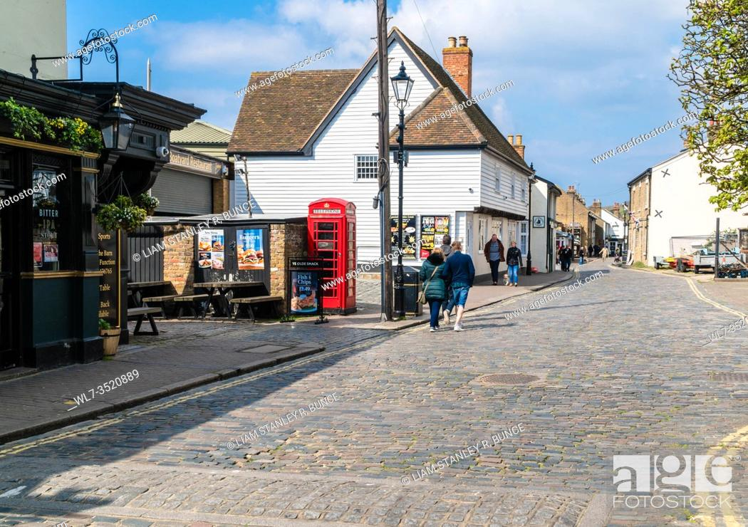 Stock Photo: Leigh-on-Sea cobbled High Street Essex UK. April 2019.