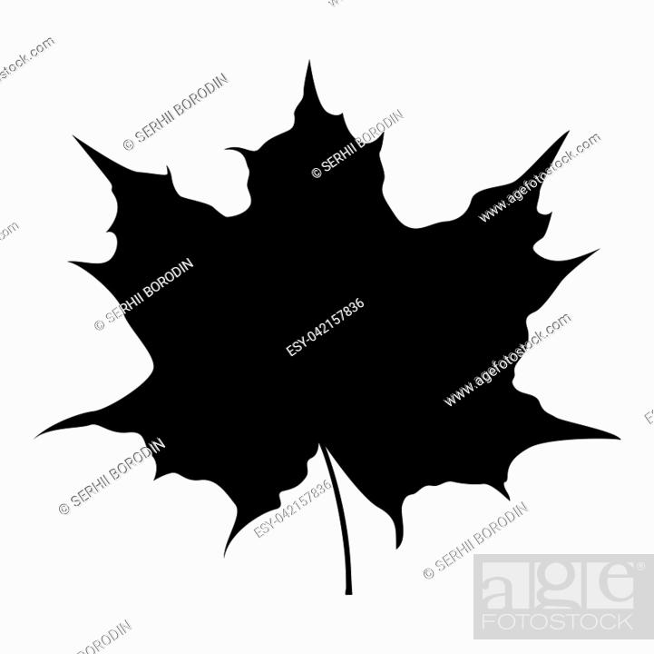 Stock Vector: Maple leaf silhouette icon black color vector illustration flat style simple image.