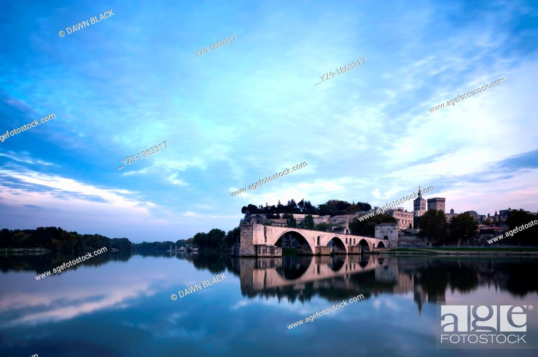 Stock Photo: Dusk over Avignon, Provence, France,.