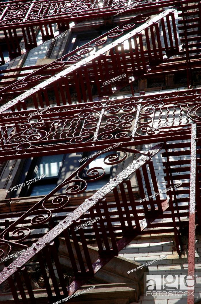 Stock Photo: USA, New York City fire staircase in Little Italy, Manhattan.